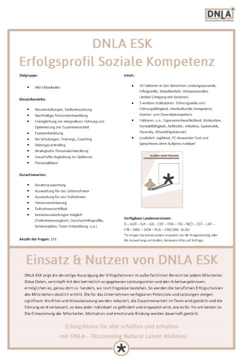 DNLA Erfolgsprofil Soziale Kompetenz